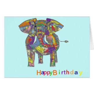 Rainbow Elephant, colourful design,for anyone. Card