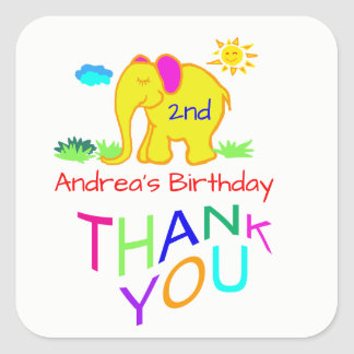 Rainbow Elephant Kid's Name & Age Birthday Thanks Square Sticker