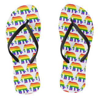 Rainbow elephant pattern flip flops