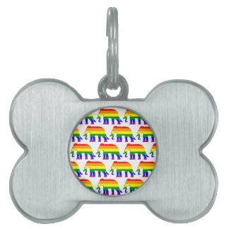 Rainbow elephant pattern pet name tag