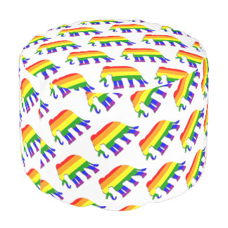 Rainbow elephant pattern pouf