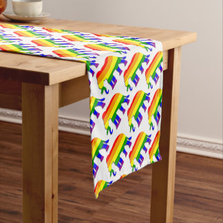 Rainbow elephant pattern short table runner