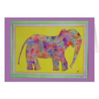 Rainbow Elephant Watercolor Card