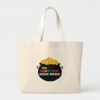 rainbow ends pot large tote bag