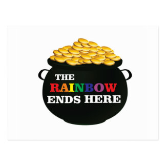 rainbow ends pot postcard