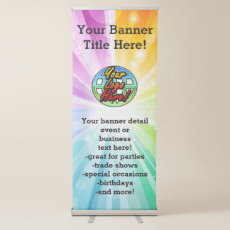 Rainbow Explosion Promotional Business Logo/Photo Retractable Banner