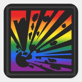 Rainbow Explosion Square Sticker