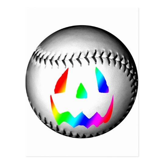 Rainbow Face Baseball Postcard