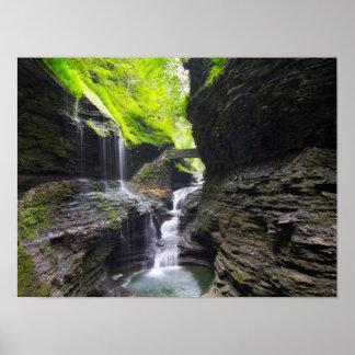Rainbow Falls & cascade, Watkins Glen, New York Poster