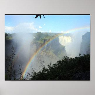 rainbow falls water waterfall park gold golden poster