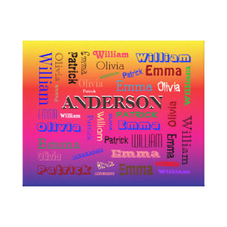 Rainbow Family Lineage Word Cloud Name Collage Canvas Print