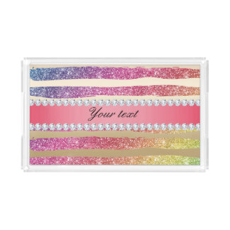 Rainbow Faux Glitter Stripes Diamonds Gold Acrylic Tray