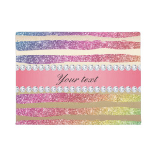 Rainbow Faux Glitter Stripes Diamonds Gold Doormat