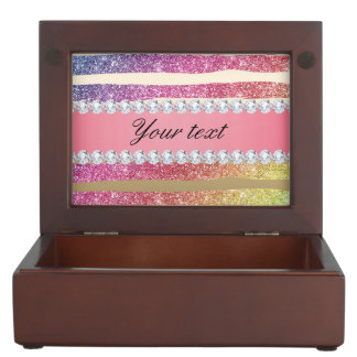 Rainbow Faux Glitter Stripes Diamonds Gold Keepsake Box