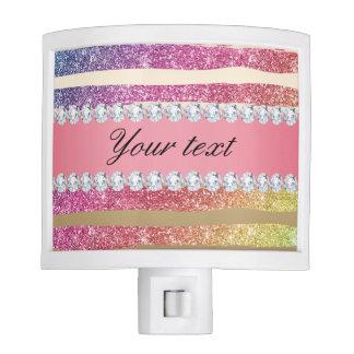 Rainbow Faux Glitter Stripes Diamonds Gold Nite Lite