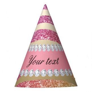 Rainbow Faux Glitter Stripes Diamonds Gold Party Hat