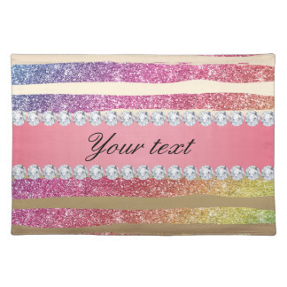 Rainbow Faux Glitter Stripes Diamonds Gold Placemat