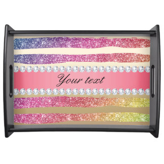 Rainbow Faux Glitter Stripes Diamonds Gold Serving Tray