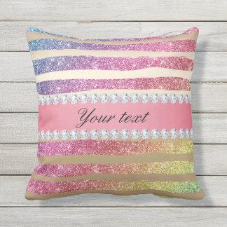 Rainbow Faux Glitter Stripes Diamonds Gold Throw Pillow