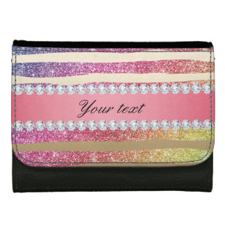 Rainbow Faux Glitter Stripes Diamonds Gold Wallets