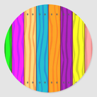 Rainbow Fence Round Sticker