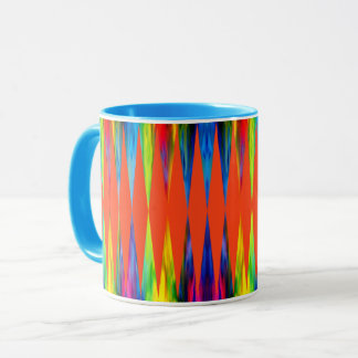 [Rainbow Fiesta] Bright Harlequin Geometric Mug