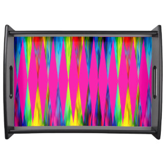 [Rainbow Fiesta] Bright Harlequin Geometric Serving Tray