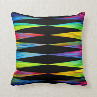 [Rainbow Fiesta] Bright Harlequin Geometric Throw Pillow