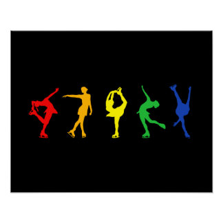 Rainbow Figure Skaters Poster