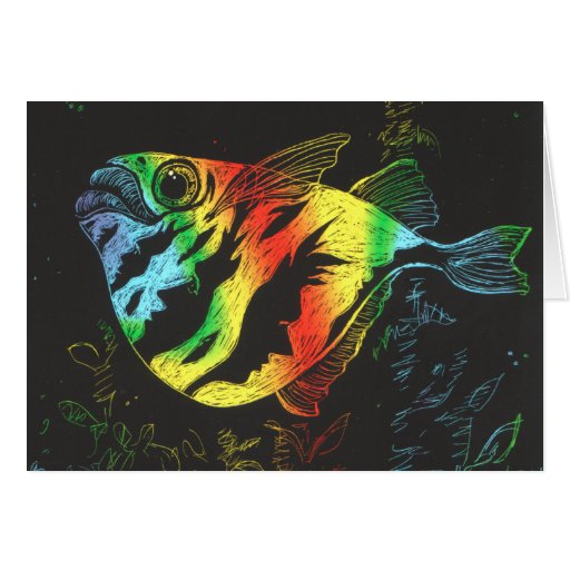 Rainbow Fish Card - Horizontal Format