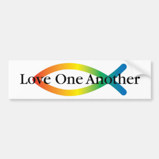 Rainbow Fish Love Bumper Sticker