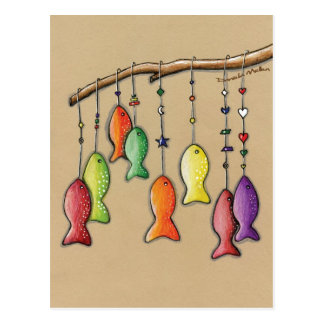 Rainbow Fish on Hooks Postcard