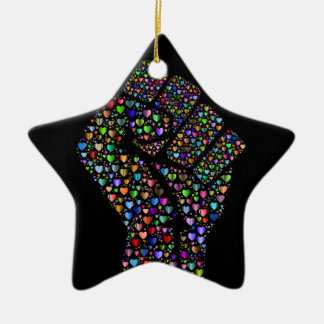 Rainbow Fist of Hearts Ceramic Star Ornament