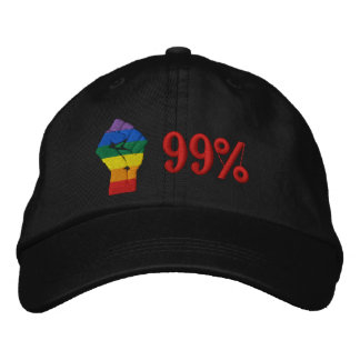 Rainbow Fist of Resistance - 99% Embroidered Hat
