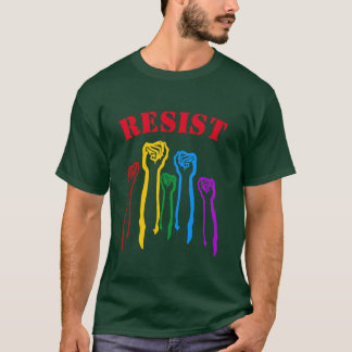 Rainbow Fists Gay Pride Protest RESIST T-Shirt