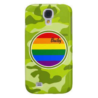 Rainbow Flag bright green camo camouflage Galaxy S4 Cover