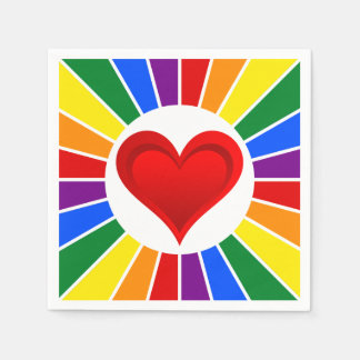 RAINBOW FLAG BUTTON RAYS & Heart + your ideas Paper Napkins