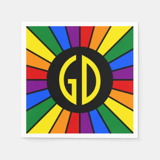 RAINBOW FLAG BUTTON RAYS + your sign or text Disposable Napkins