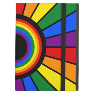 RAINBOW FLAG BUTTON RAYS + your sign or text iPad Air Cover