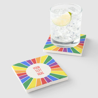 RAINBOW FLAG BUTTON RAYS + your sign or text Stone Coaster