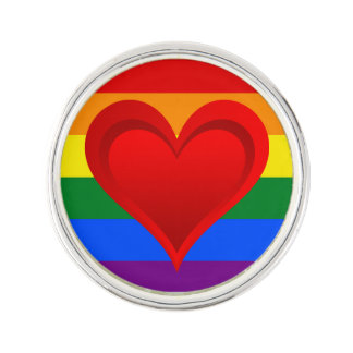 RAINBOW FLAG COLORS & red heart + your ideas Lapel Pin