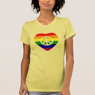 Rainbow Flag Heart Peace T Shirts