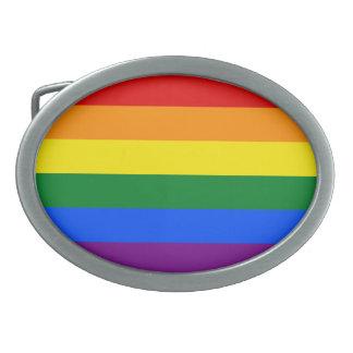 Rainbow Flag Oval Belt Buckle