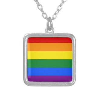 Rainbow Flag Silver Plated Necklace