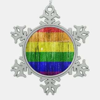 RAINBOW FLAG SQUARE WOOD PATTERN -.png Pewter Snowflake Ornament