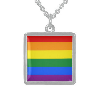 Rainbow Flag Sterling Silver Necklace