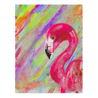 Rainbow Flamingo Print Postcard