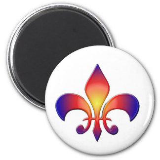 Rainbow Fleur de Lis 2 Inch Round Magnet
