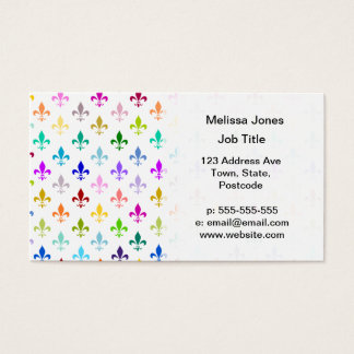 Rainbow fleur de lis pattern business card