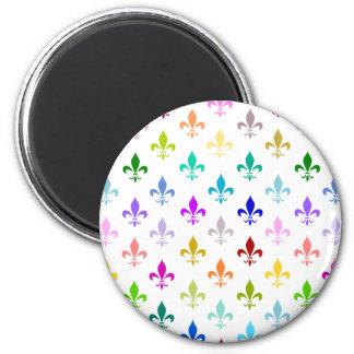 Rainbow fleur de lis pattern refrigerator magnet